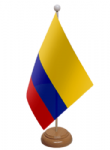 Colombia Desk / Table Flag with wooden stand and base